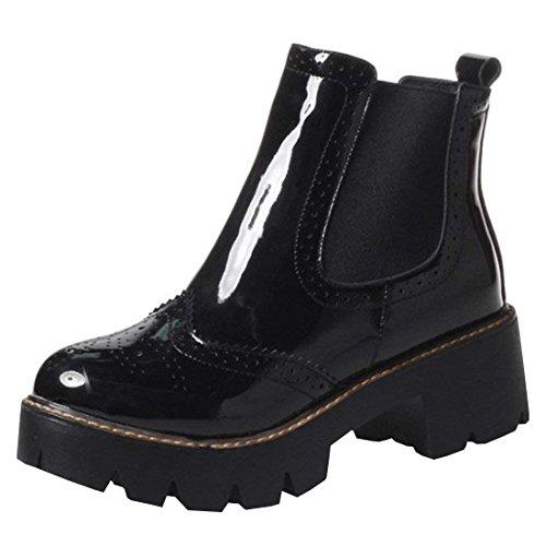 Artfaerie Damen Plateau Chelsea Boots Lack Stiefeletten mit Blockabsatz 5cm Absatz Bequem Freizeit Schuhe(EU 41,Schwarz)