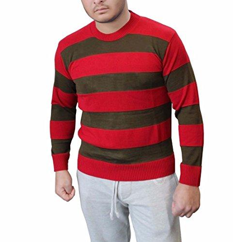 F&F Männer Freddy Red & Green Streifen Gestrickte Pullover Fancy Dress Kostüm Medium (Kostüme Alptraum Nacht)