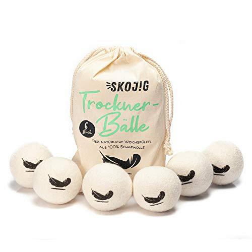 Skojig 6 XXL Trocknerbälle aus Schafswolle | Trocknerkugeln BZW. Filzbälle natürliche Alternative zu Weichspüler | umweltschonend pflegend kostensparend zeitsparend wiederverwendbar | Naturprodukt