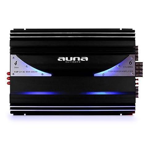 Auna AMP-CH06 Ampli de voiture 3 à 6 canaux pour sono auto et installation tuning (5000 W, 570W RMS, 20Hz-20kHz, 3x RCA-Line, 6x sorties pour haut-parleurs, effets LED, filtre passe-bas réglable) noir/argent