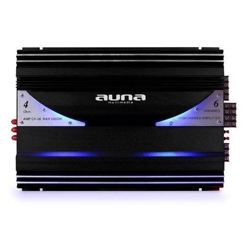 AUNA AMP-CH06 - Amplificateur Voiture HiFi, Amplificateur Voiture 6 canaux, Puissance: 5000 W Max, Entrées Haut et Bas Niveaux, Filtre Passe-Bas, Plage de fréquences: 20 Hz-20 kHz, Noir-Argent