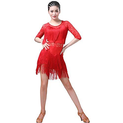 WEISY Sexy Spitze Quasten Latin Dance Kleid für Frauen Salsa Cha Cha Tango Ballroom Dancewear Kostüm