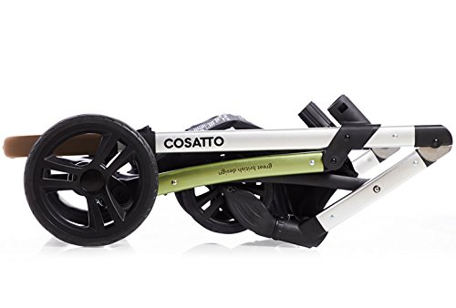 Cosatto Wow 3 in 1 isize Travel System Dawn Chorus with Dock car seat Bag footmuff & Raincover Cosatto Includes: Chassis,Carrycot,Seat unit,Dock isize Car seat,Car seat adapters,Footmuff,Change bag, Raincover & 4 Year guarantee(UK and Ireland only) Compact fold Telescopic, leatherette handle and Handy one-handed recline. One-hand release carrycot, One-hand adjustable leg rest and Super-sized basket with handy compartments 7