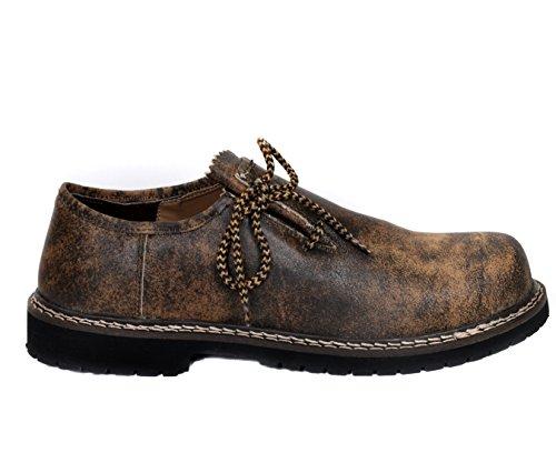 Herren Trachtenschuhe Haferlschuh aus Echt Rinds Leder, Antik Braun, (Schuh Trachten)