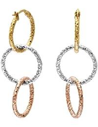 Citerna Damen-Ohrringe Gelb, Weiß und Rosé Gold 9 karat Diamantschliff