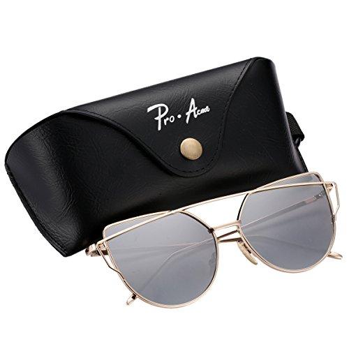 Pro Acme Mode Metallrahmen Katzenauge Sonnenbrille für Frauen spiegelnde flache Gläser (Gold Frame/Silver Mirrored Lens, (Retro Sonnenbrille Leopard Rock)