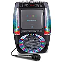 Singing Machine SML605W AGUA Dancing Water Fountain Bluetooth Karaoke System with LED Disco Lights, Wired Microphone and 3 CD's - White-parent