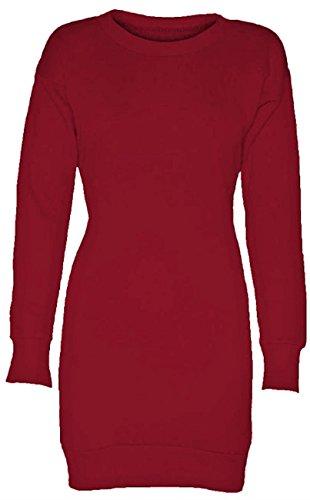 Chocolate Pickle ® Nouvelles femmes à manches longues surdimensionné Imprimé sweat cavaliers Tops Mini-robe 36-50 Wine