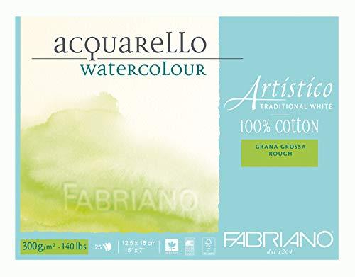 Fabriano ATW BL 4CO 25 M real hecha de papel de la acuarela de Hahnemühle GT 12,5 x 18 cm, color blanco