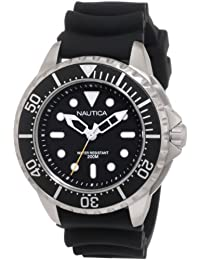 Nautica Men's 50mm Black Resin Band Steel Case Quartz Analog Watch N18630G