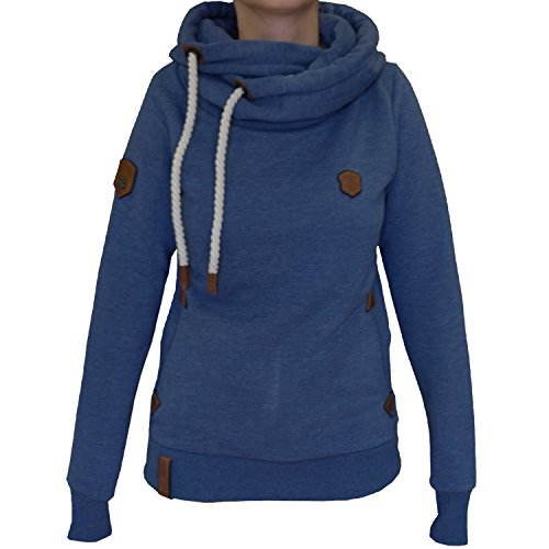 Naketano Damen Kapuzenpullover Darth X Hoodie: Gr. Small, Blue Melange