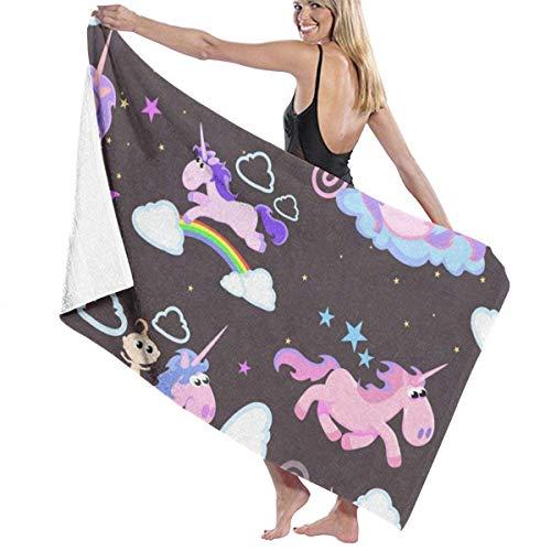 xcvgcxcvasda Serviette de bain, Cartoon Rainbow Unicorn Personalized Custom Women Men Quick Dry Lightweight Beach & Bath Blanket Great for Beach Trips, Pool, Swimming and Camping 31