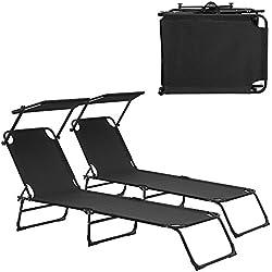 [casa.pro]®] Transats [2er Set] Pliable 190cm Noir avec toiture Pare-Soleil de Relax Acier