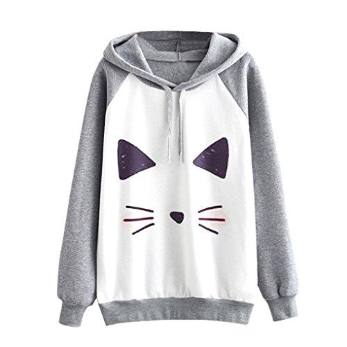 TWIFER Damen Print Cat Langarm Hoodie Pullover Sweatshirt Kapuzenpullover (M, Grau) (Frauen Jacken Diesel)