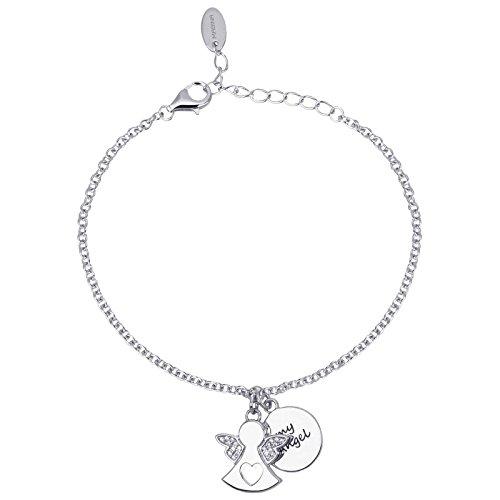 Mabina Gioielli Engel mit Herz MY ANGEL Armband Silber mit Zirkonia längenverstellbar 533178