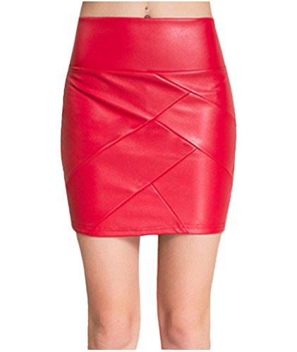 lotus-instyle-femmes-similicuir-minijupe-jupes-courtes-jupe-plisse-red-l
