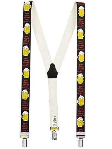 Xeira  Hochwertige Hosenträger in Trendigen Motiven mit stabilen Clips und Echt Leder - Made in Germany (Noramle Größe, Man Gönnt Sich - Bier)