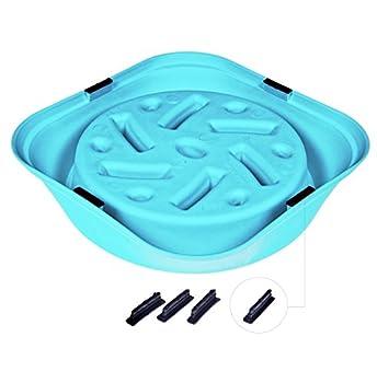 Ocimad Gamelle d'Alimentation Lente pour Chiens Avec Brosse de Nettoyage Bol Anti Glouton Ralenti et Interactive Antidérapant en Forme de Labyrinthe Non Toxique Écologique Lavable au Lave-Vaisselle