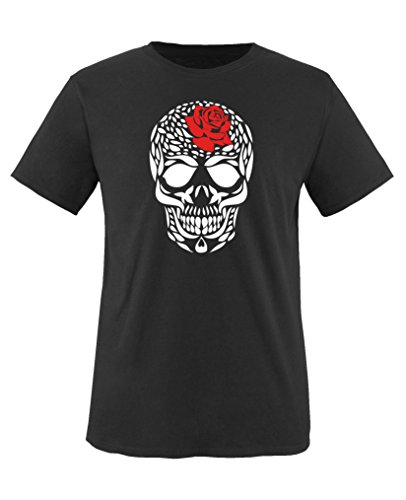 Comedy Shirts - Totenkopf Blume - Mädchen T-Shirt - Schwarz / Weiss-Rot Gr. 152/164 (Blumen-kinder-t-shirt)