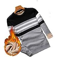 ZYZHJY Men 'S Cotton Jersey De Punto, Suéter, Cuello Redondo Y Terciopelo,Gris Claro,M