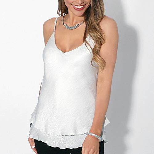 Aiserkly Art- und Weisefrauen-Feste beiläufige Oansatz Sleeveless Camis Rüschen übersteigt T-Stück Bluse Weiß XL