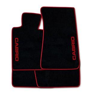 Autoteppich Stylers ATSQ100-CAB002526 Passgenaue Fußmatten in schwarz mit Druck Cabrio seitlich und Rand in Rot