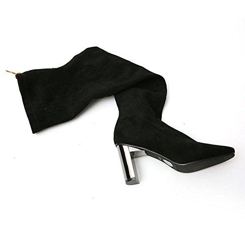 KPHY-Schuhe Mit Hohen Absätzen Knie Stiefel Und Winter Kaschmir Einfache Schwarze Wildleder Stiefel Mit Dicken Kopf Ärmel Flut 34 Schwarz (Kaschmir-knie-hohe Socken)