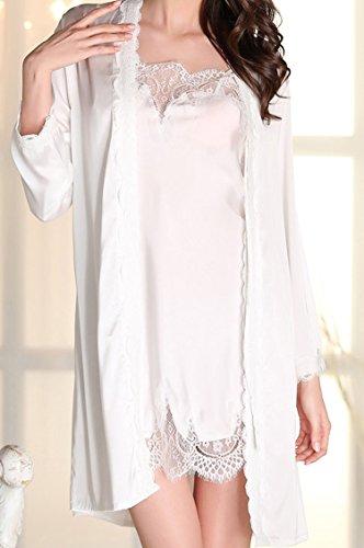 URqueen Women's Silky Gorgeous Loungewear Robe 2PC Sleepwear Set white