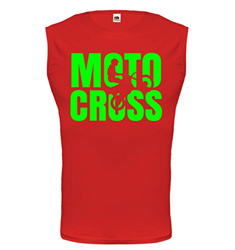 buXsbaum® Tank Top Motocross Type Red-Neongreen