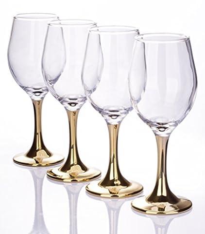 Set of 4 Gold Stemmed Wine Glasses