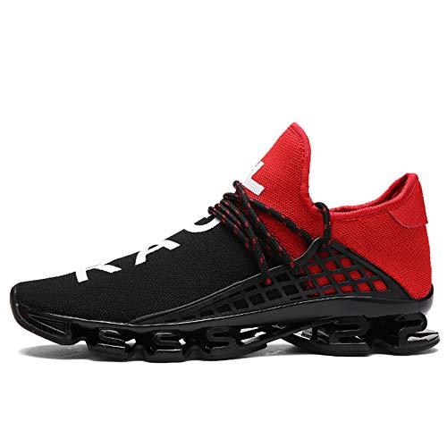 XIDISO Herren Damen Trainer Fashion Slip On Blade Trail Running Schuhe Herren Casual Sports Athletic Tennis Walking Schuh Mesh Sneakers, Rot-2, 43 EU -