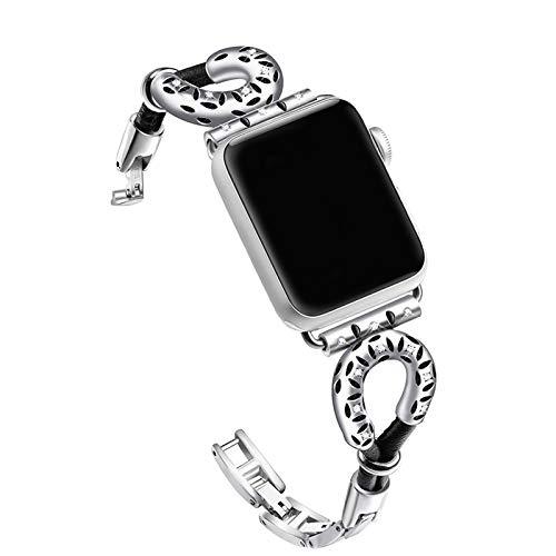 OWEM Mode-Design Lammfell Seil, Edelstahl-Kette Armband, Geeignet Für Apple Watch Leather Strap 44Mm 42Mm 38Mm 40Mm Uhr Für Apple Strap Strap Für Iwatch Series 4 3 2 1 Strap,38mm