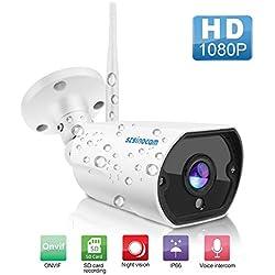 Caméra de Surveillance WiFi, SZSINOCAM Caméra IP Extérieur HD 1080P sans Fil,Caméra Sécurité étanche IP66 Audio Bidirectionnel, Détection de mouvement,Email Push,Vision Nocturne de 20 m, jusqu'à 64GSD