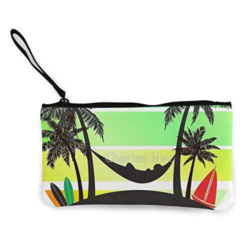 TTmom Damen Leinwand Geldbörse Portemonnaie Geldbeutel, Lady Wristlet Wallet Clutch for Smartphones with Wrist Strap Card Coin Purse Case - Coconut Tree Reggae Color Jamaican
