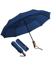 Paraguas Plegable Hombre Automático Antiviento, ECHOICE Paraguas Azul Marino Compacto Resistente al Viento, Paraguas de Viaje