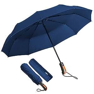 ECHOICE Ombrello Portatile Automatico Antivento, Ombrello Pieghevole Blu Compatto Resistente Leggero con Custodia Impermeabile e 10 Stecche rinforzate in Teflon per Due, Ombrello da Viaggio (Blu)