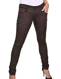 ICE (1519-1) Jeans Très Extensible et Très Moulant Taille Très Basse Marron