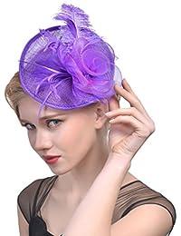 Yujeet Moda Femenina Elegante Sombreros Y Tocados Pluma Proceso De Sarga  Completa Hecho A Mano Novia Headwear Para La Boda… b433e64c40aa