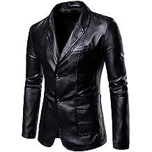 Yonglan Hombres PU Traje Chaqueta Tamaño Grande Color Sólido Slim Fit Chaqueta De Cuero Blazer Negro