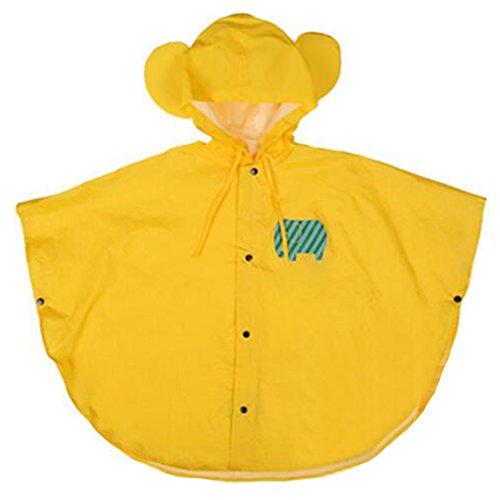 hibote bambino bambini pioggia Poncho con cappuccio Poncho impermeabile Suit Size 80-100cm (S / giallo)