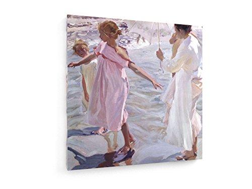 Joaquin Sorolla - Badezeit - 30x30 cm - Textil-Leinwandbild auf Keilrahmen - Wand-Bild - Kunst, Gemälde, Foto, Bild auf Leinwand - Alte Meister/Museum (Kunst Leinwand Foto)