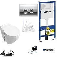 Geberit Duofix Vorwandelement, V&B Wand WC Vita erhöht 46cm , Komplettset + Haro Sitz Softclose, Ceramicplus Drückerplatte chrom