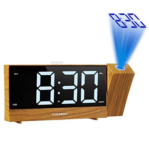 Projektionswecker, FM Radiowecker mit Projektion Digitaler Wecker dimmbarer Deckenprojektion und großem Display Digitaler Wecker Reisewecker Tischuhr Dual-Alarm, 2 USB-Anschluss, Snooze, holzmaserung