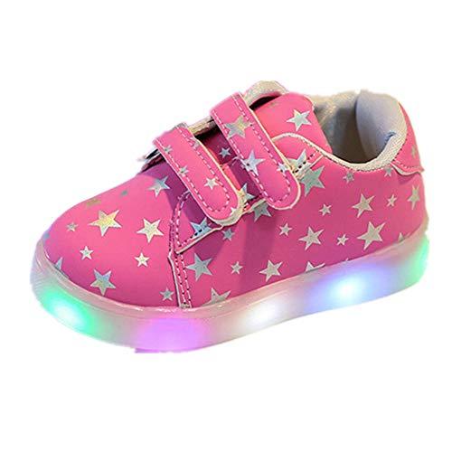 Elecenty regalo bambino scarpe led stella sportive bambini ragazzi ragazza scarpe con luce luminose sneakers (size:22, rosa 2)