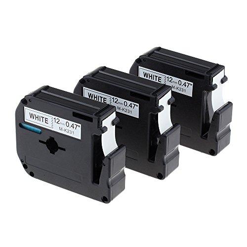 coLorty 3PK M-K231 Nicht-laminiertes Schriftband Schwarz auf Weiß 12mm x 8m Geeignet für Brother P-touch Etikettendrucker PT-45M PT-55BM PT-55S PT-65 PT-65SB PT-70 PT-80 PT-85 PT-90 PT-100 PT-110 und Andere P-Touch Geräte (2 Jahre Garantie)