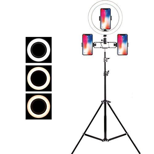 JaidWefj 26cm Ring Licht LED Ringleuchte 12W Dimmbare Ringlicht mit Stativ für Kamera und Smartphone Video Make up Selfie,210cm Mobile Video-installation