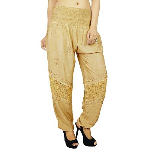 Casual Hippie Bohemian Aladdin Yoga Sarouel Pantalons femmes indiennes cadeaux pour elle Beige