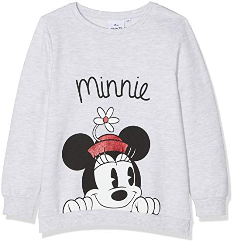 Disney Minnie Mouse Mädchen Sweatshirt Minnie Mouse Flower Hat Grau (Grey Marl) 7-8 ()