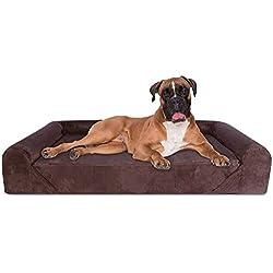 KOPEKS Sofa Cama Para Perro Extra Grande Estilo Lounge Perros Mascotas X Grandes Gigantes con Memoria Viscoelástica Ortopédica 142 x 100 x 25 cm - XL - XXL - Marrón