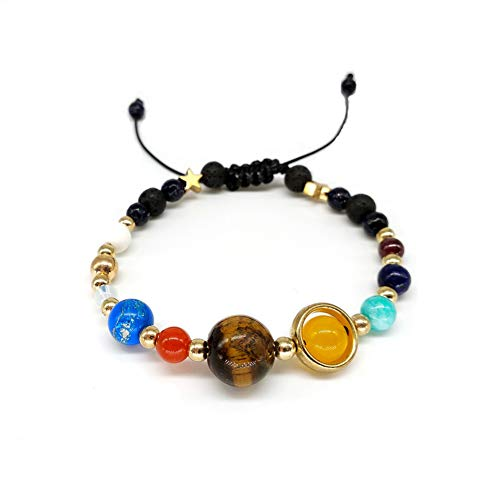 WODESHENGRI Armbänder,Mode Charme 9 Planeten Pluto Universum Armreifen & Armbänder Modeschmuck Galaxy Sonnensystem Armband Für Frauen Männer